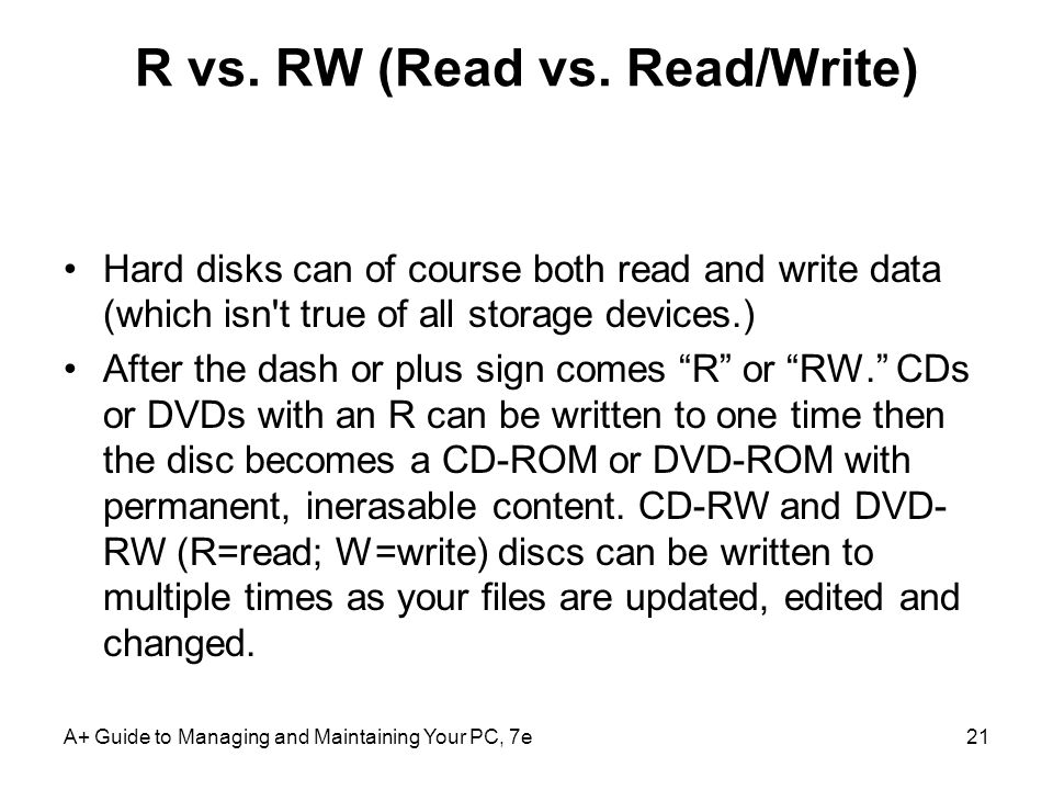 R vs. RW (Read vs. Read/Write)