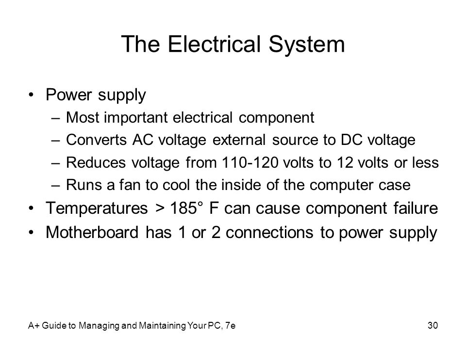 The Electrical System Power supply