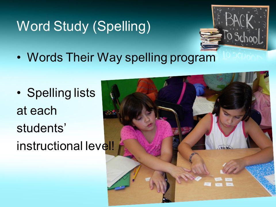 Word Study (Spelling) Words Their Way spelling program Spelling lists