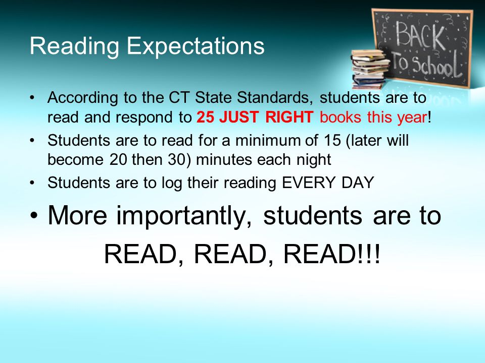 More importantly, students are to READ, READ, READ!!!
