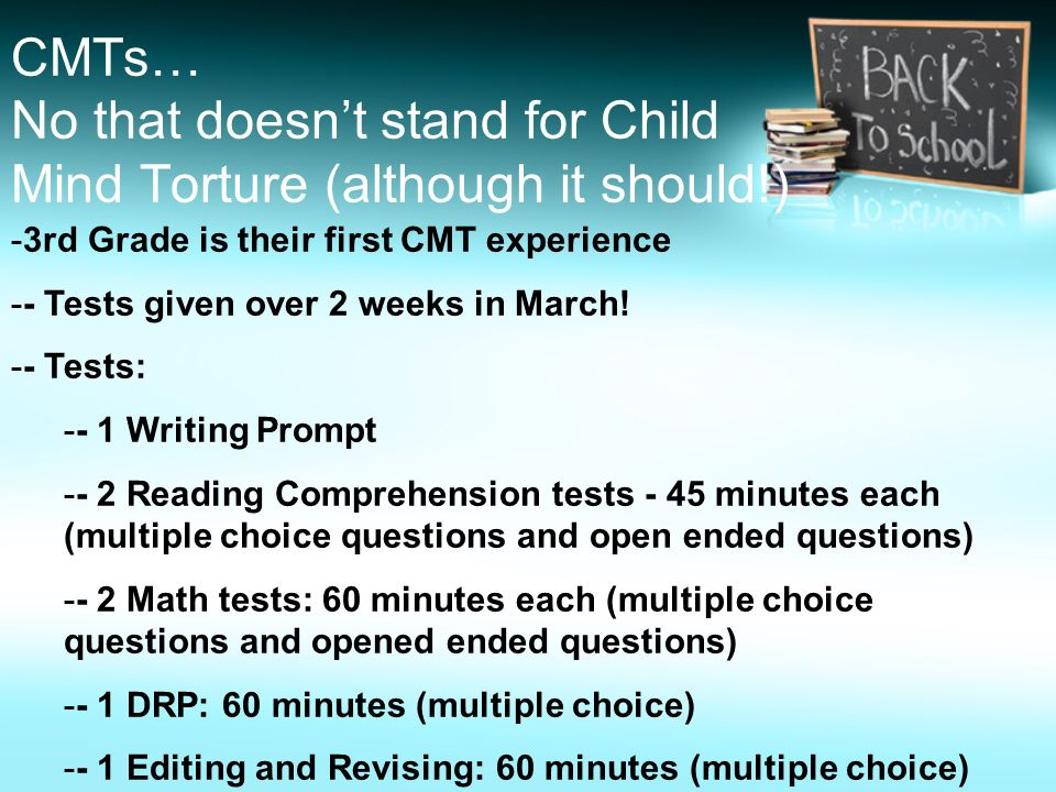 CMTs… No that doesn't stand for Child Mind Torture (although it should