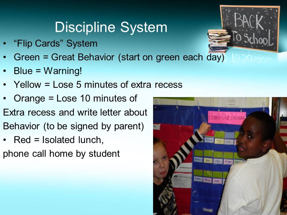 Discipline System Flip Cards System