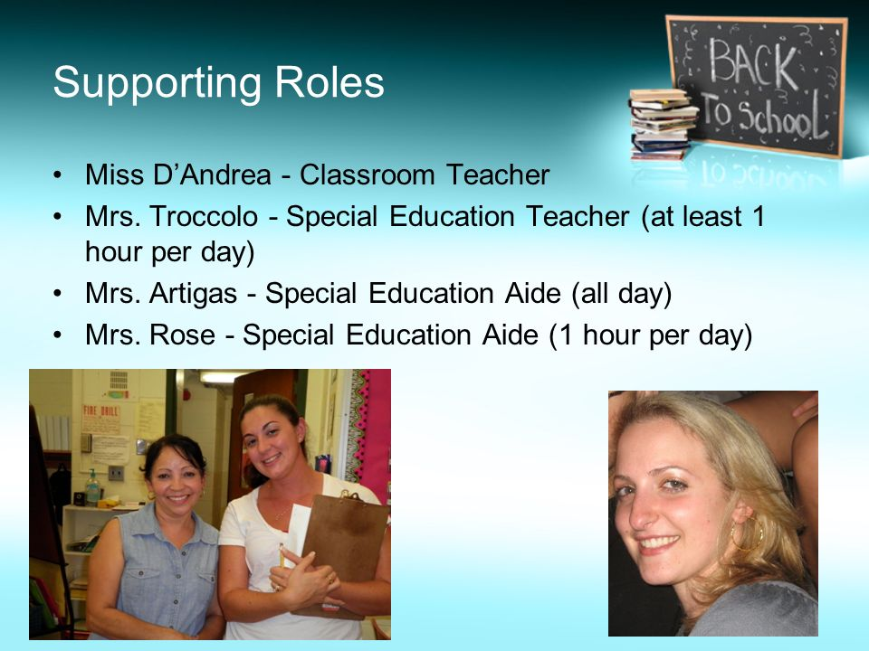 Supporting Roles Miss D'Andrea - Classroom Teacher