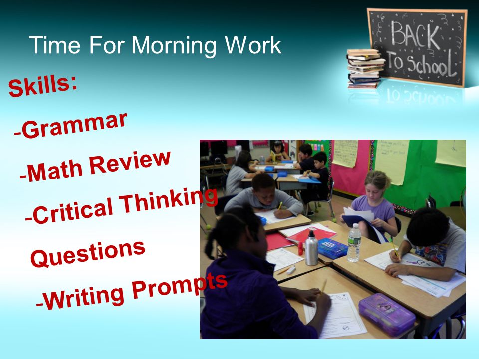 Time For Morning Work Skills: Grammar Math Review Critical Thinking Questions Writing Prompts