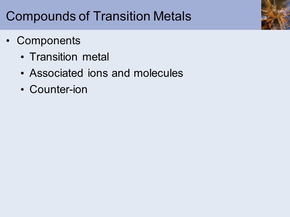 Compounds of Transition Metals
