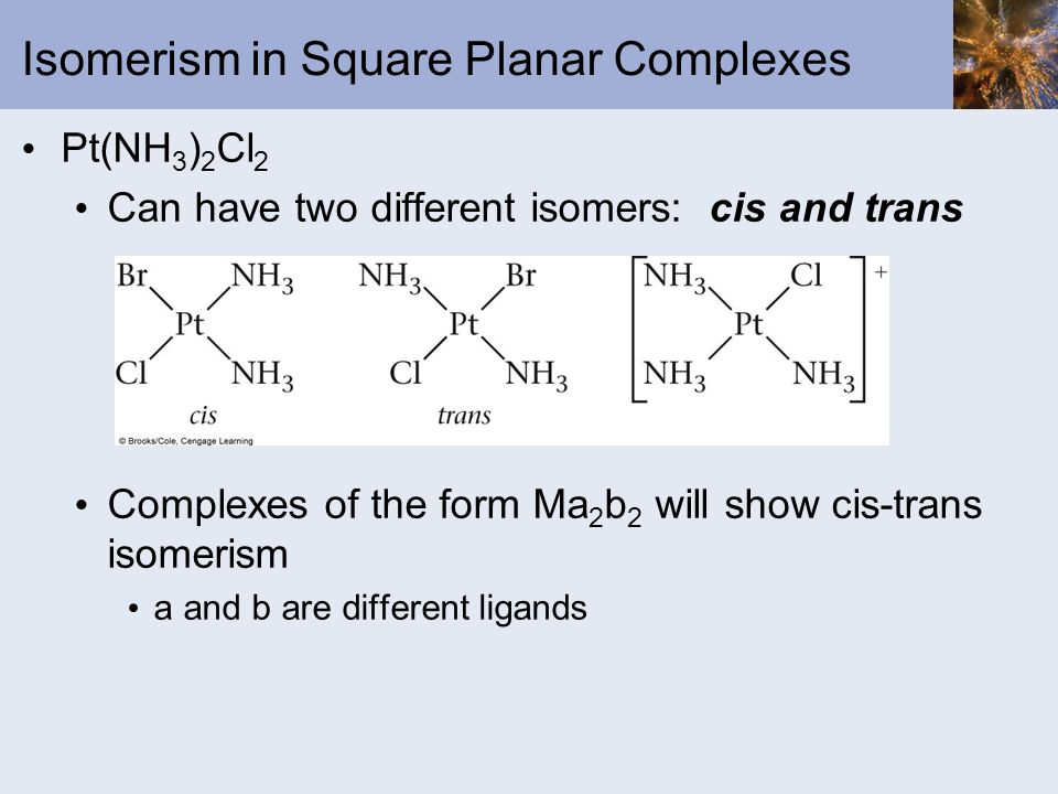 Isomerism in Square Planar Complexes
