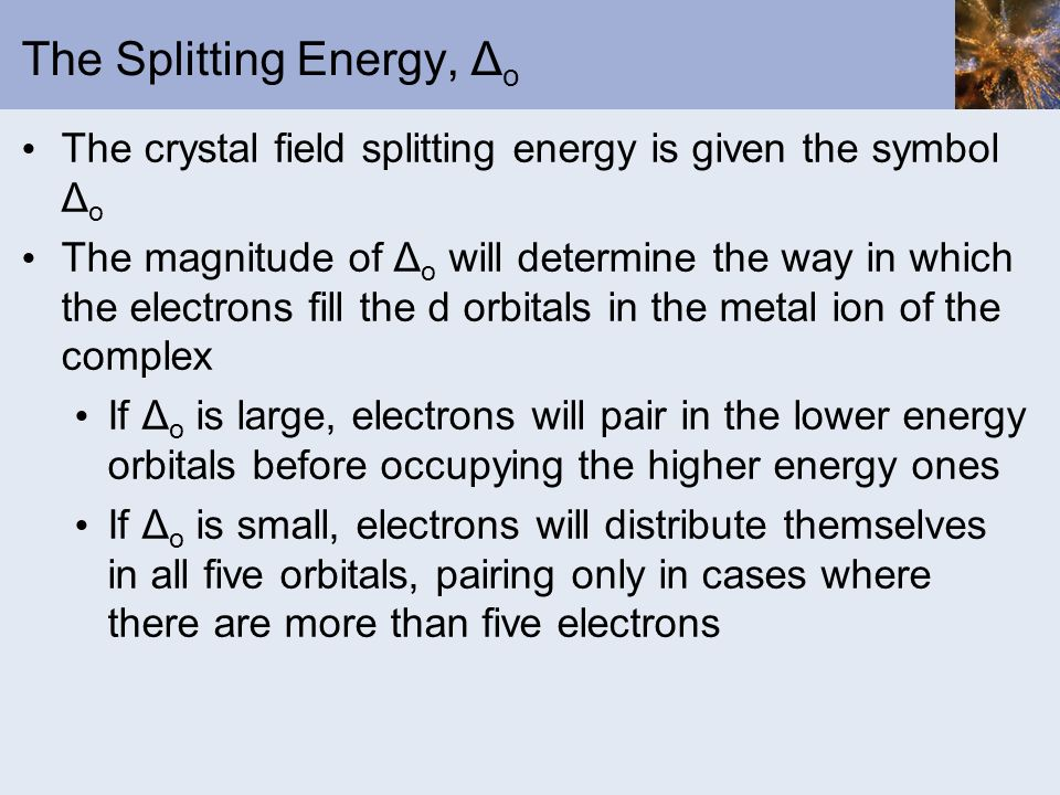 The Splitting Energy, Δo