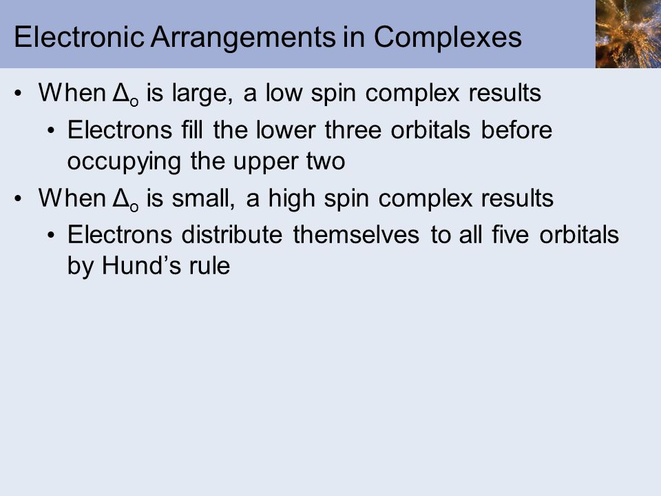 Electronic Arrangements in Complexes
