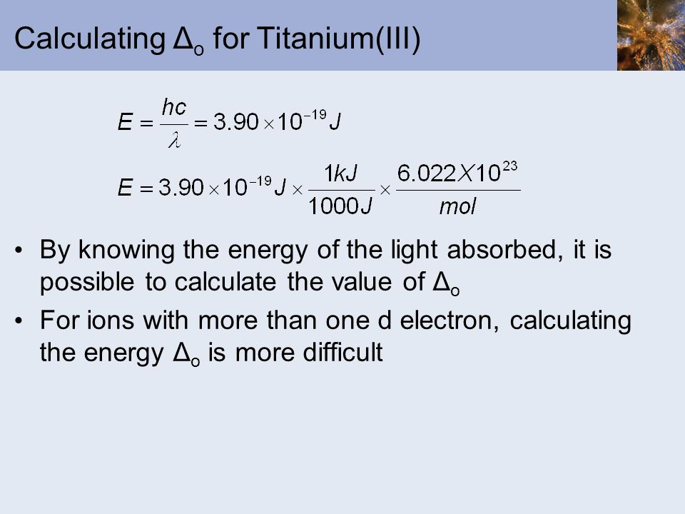 Calculating Δo for Titanium(III)