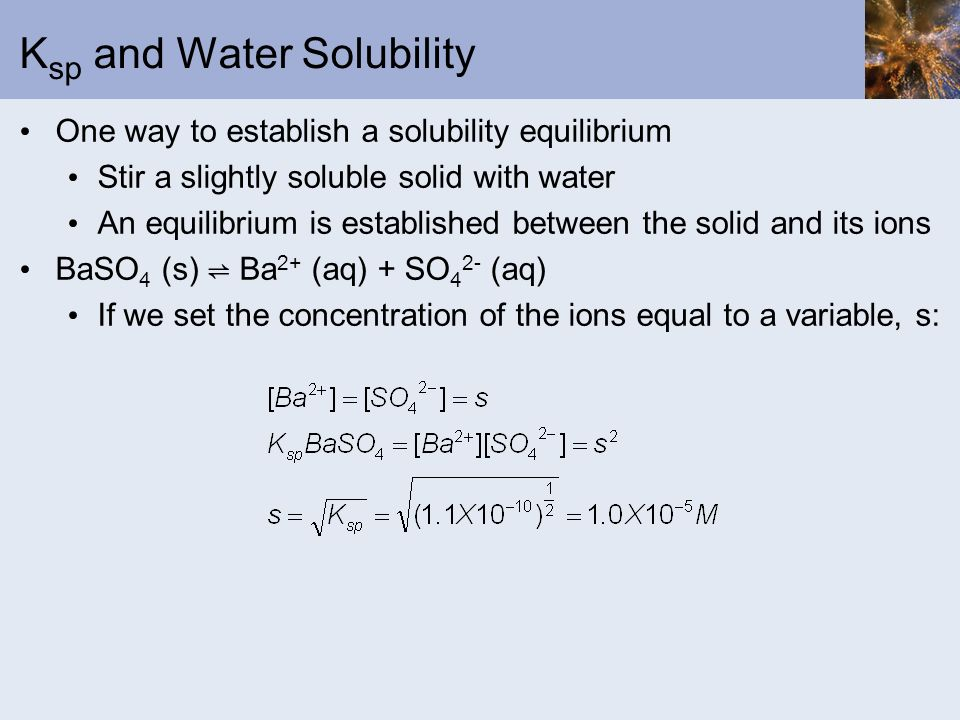 Ksp and Water Solubility