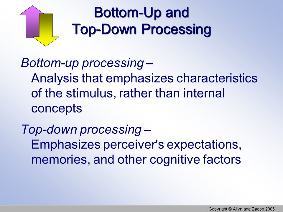 top down processing Voiceover: let's look at the difference between top-down and bottom-up processing so, what is bottom-up processing bottom-up processing basically begins with the stimulus, so let's imagine that we're looking at something, or let's say i'm.
