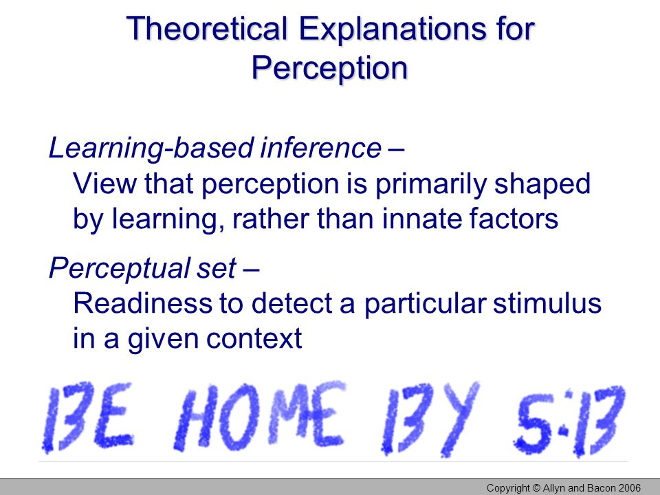 Theoretical Explanations for Perception