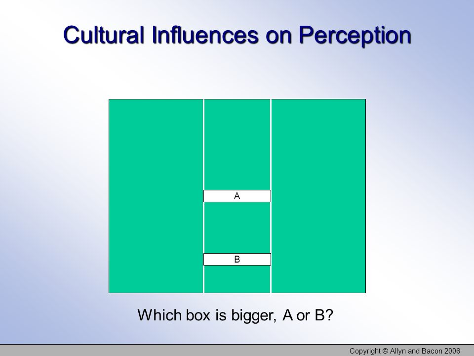 cultural influences on perception Optical illusions show how past experience dramatically influences perception 'i' ll never trust another trapezoid' part of a series of educational films produced.