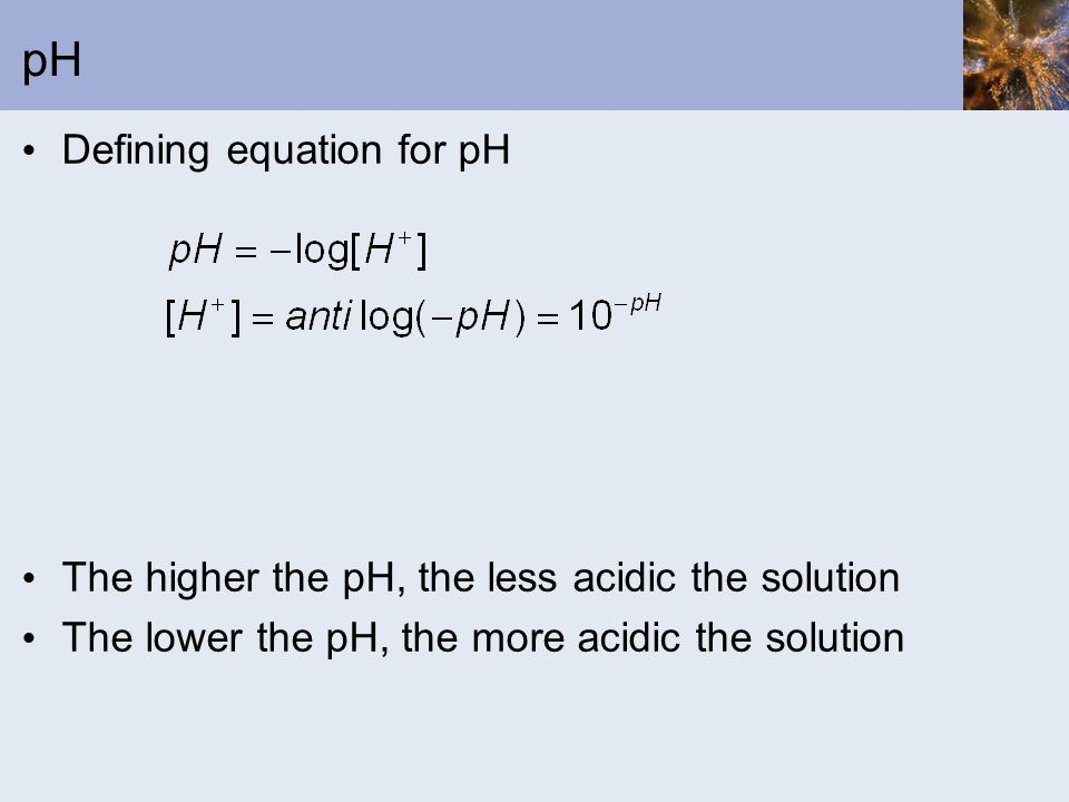 pH Defining equation for pH
