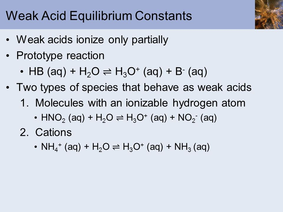 Weak Acid Equilibrium Constants