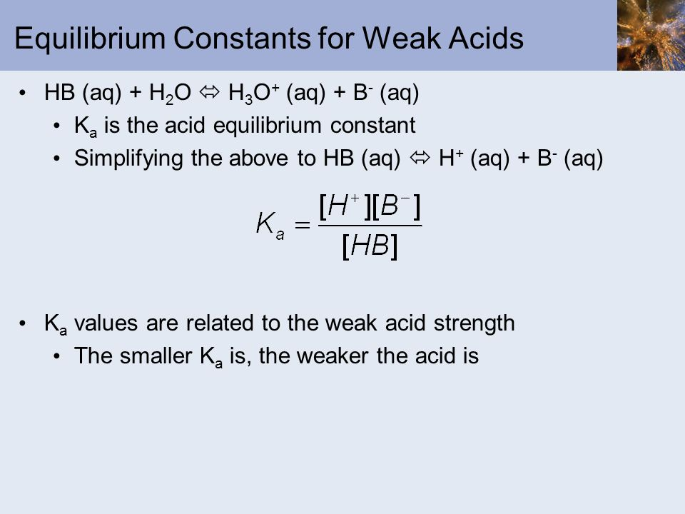 Equilibrium Constants for Weak Acids