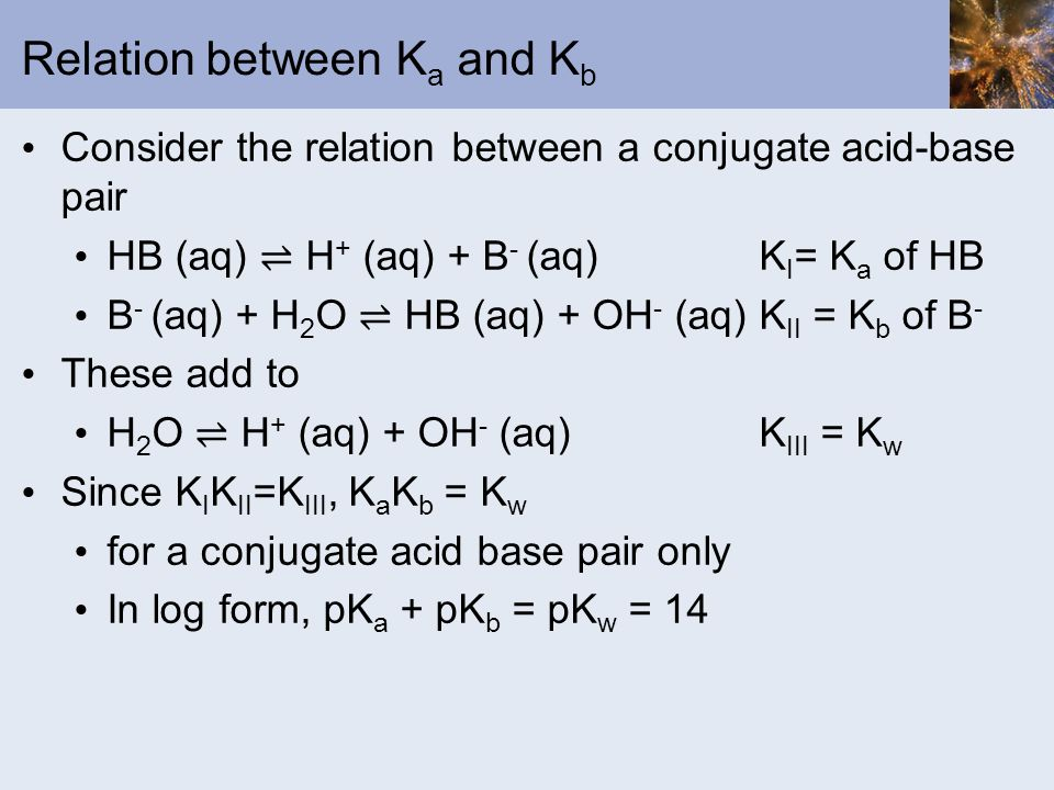 Relation between Ka and Kb