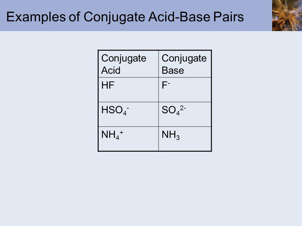 Examples of Conjugate Acid-Base Pairs