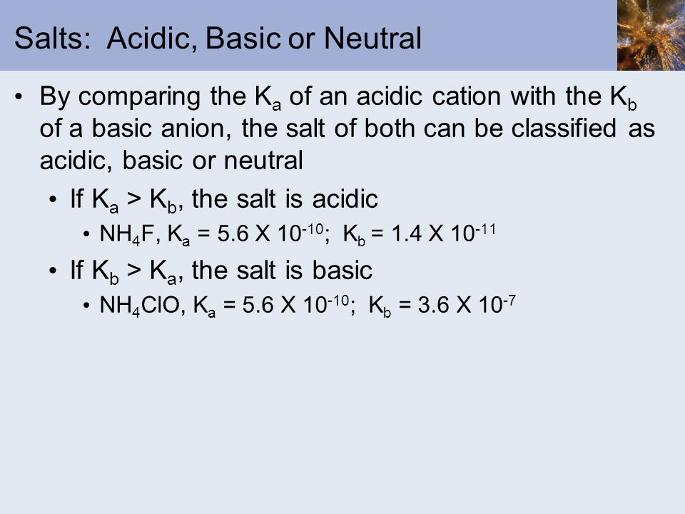 Salts: Acidic, Basic or Neutral