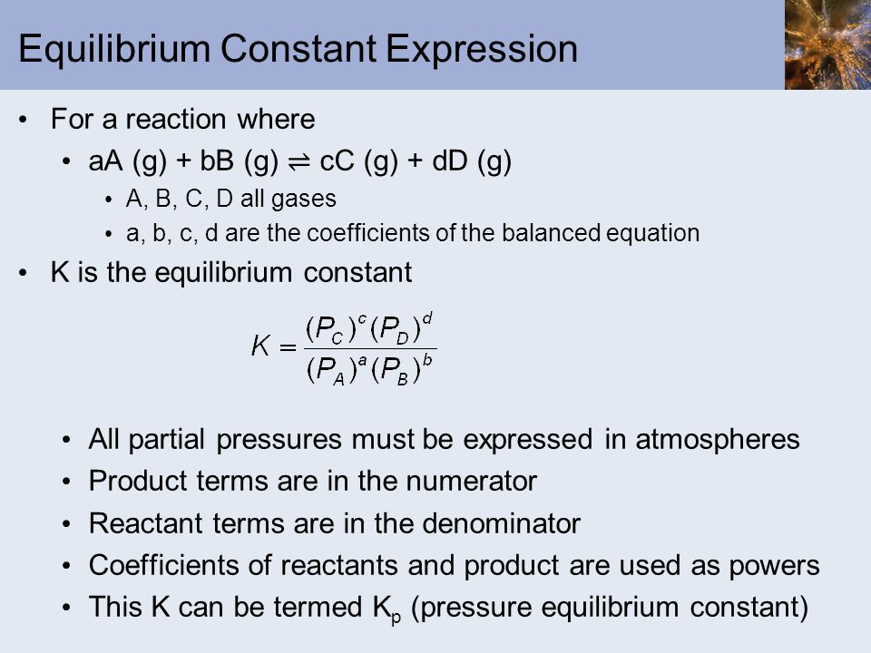 equilibrium constant essays Question at 850 k, the value of equilibrium constant kp for the ammonia synthesis reaction is 2730 if a vessel contains an initial reaction mixture in which = 00100 m, = 00250 m, and = 0000200 m, what will be when equilibrium is reached.