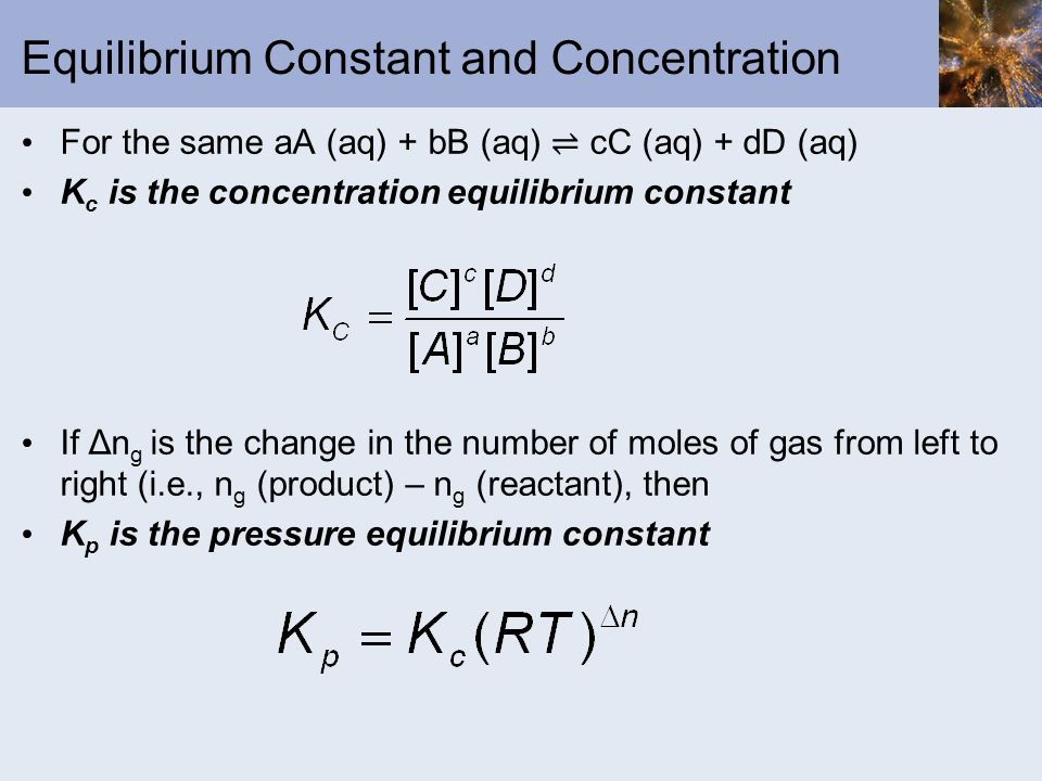Equilibrium Constant and Concentration