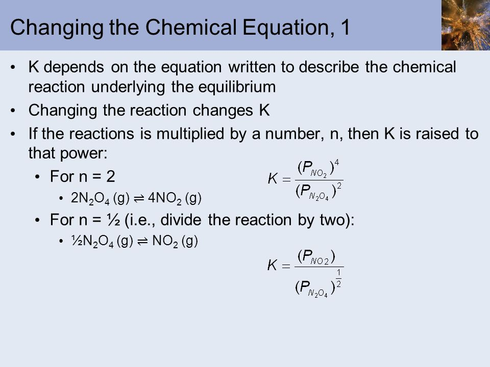 Changing the Chemical Equation, 1