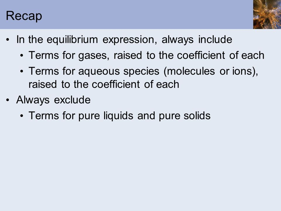 Recap In the equilibrium expression, always include