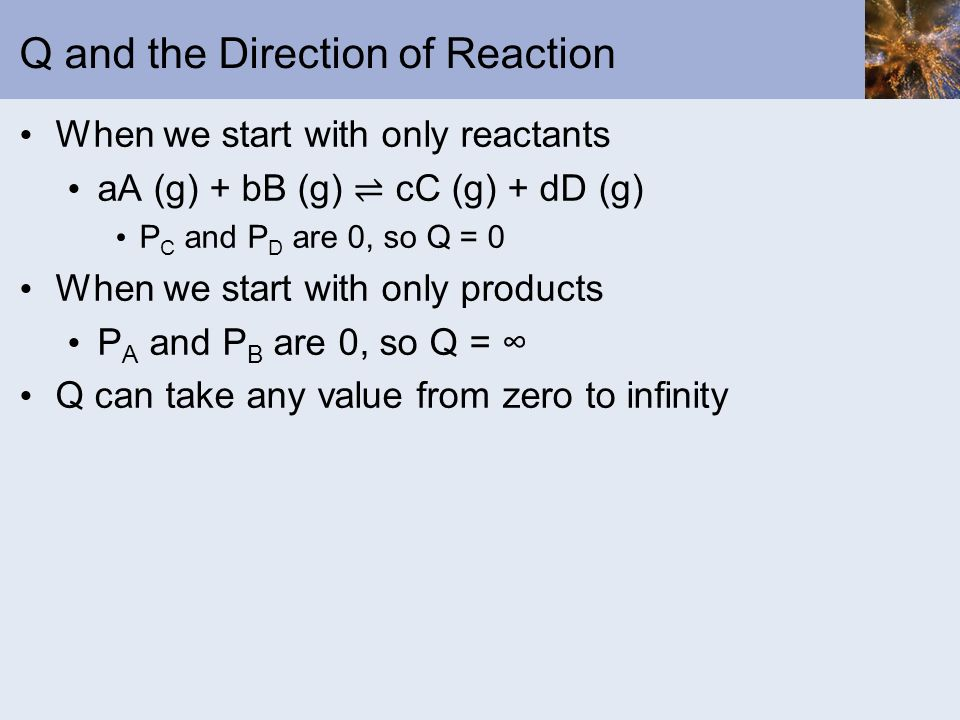 Q and the Direction of Reaction