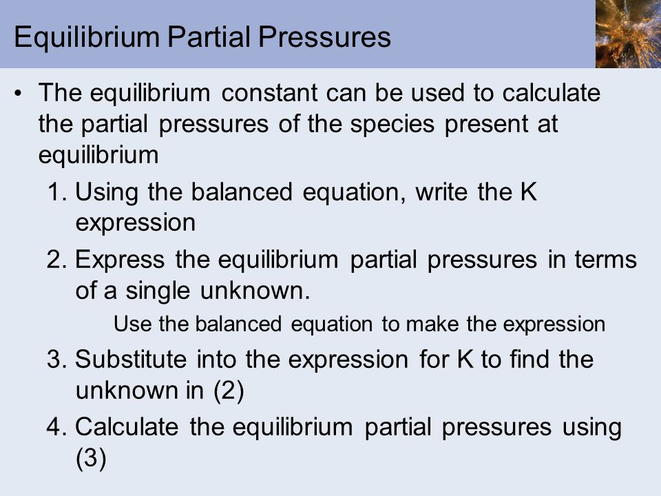 Equilibrium Partial Pressures