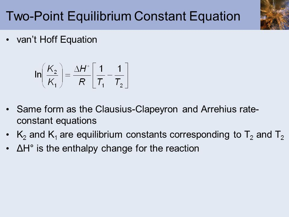 Two-Point Equilibrium Constant Equation