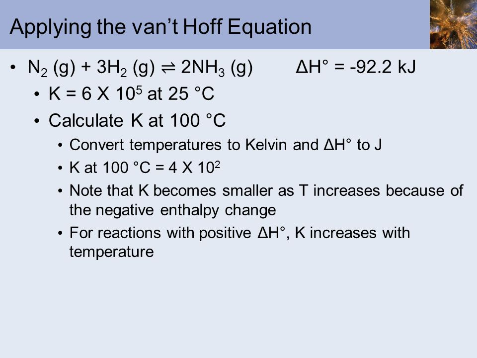 Applying the van't Hoff Equation