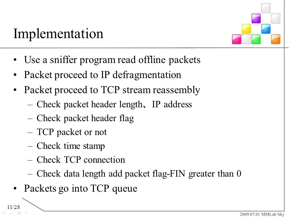 Implementation Use a sniffer program read offline packets