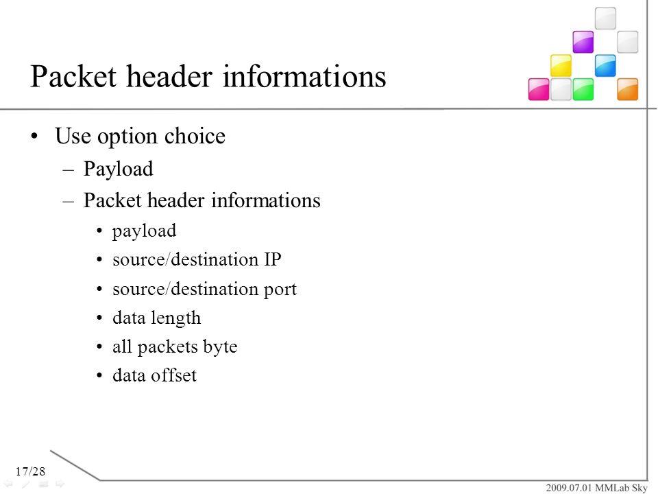 Packet header informations
