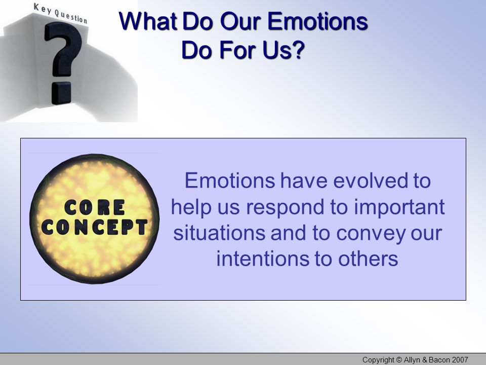 What Do Our Emotions Do For Us