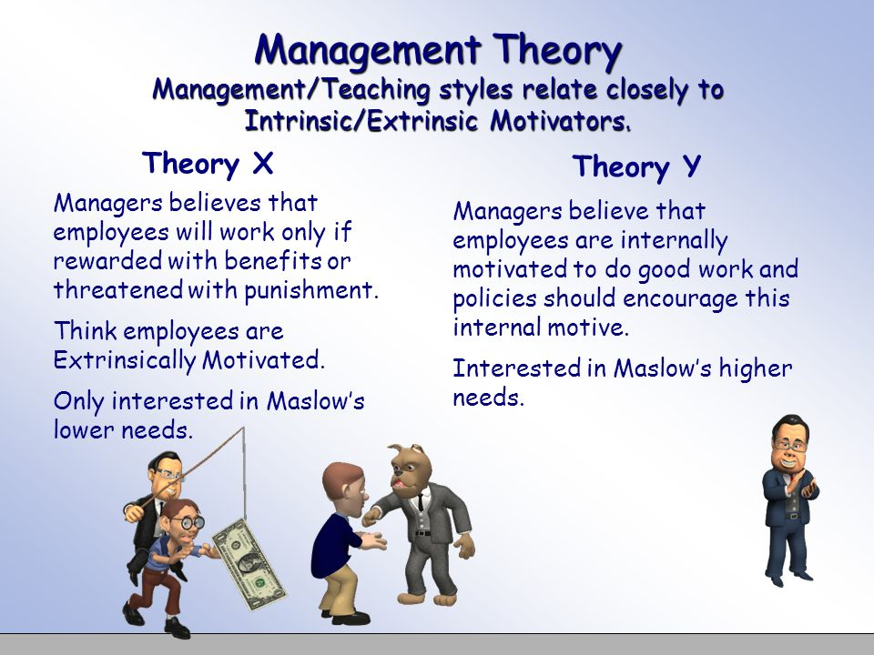 Management Theory Management/Teaching styles relate closely to Intrinsic/Extrinsic Motivators.