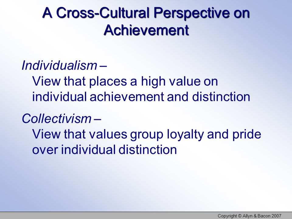 A Cross-Cultural Perspective on Achievement