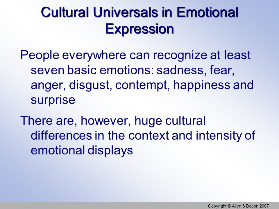 Cultural Universals in Emotional Expression