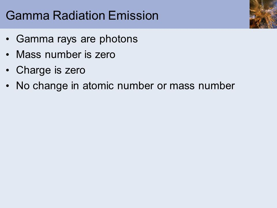 Gamma Radiation Emission