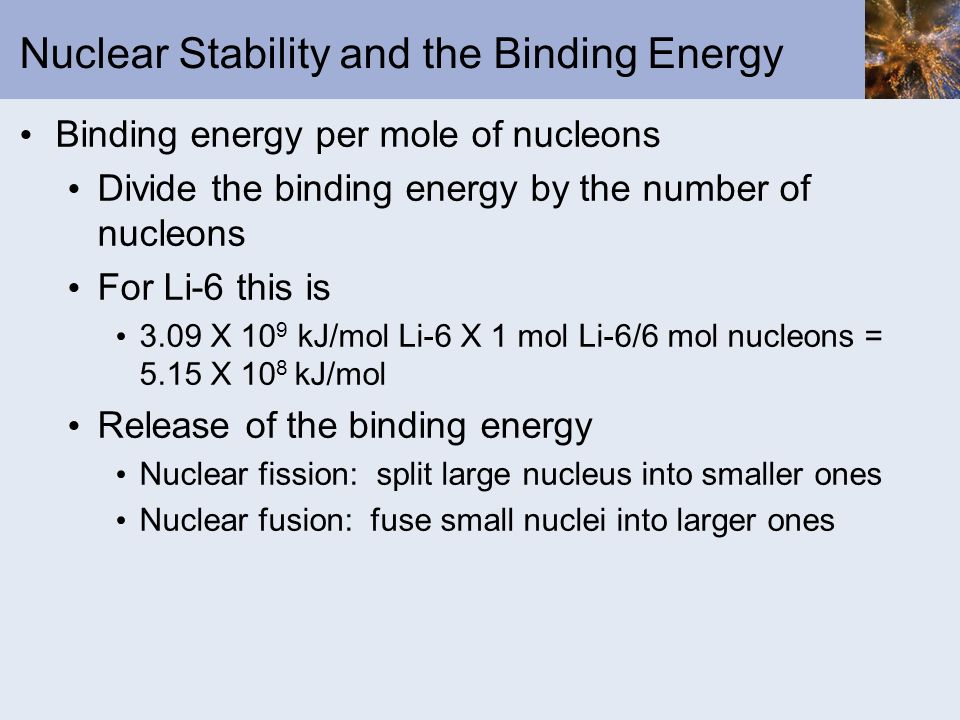 Nuclear Stability and the Binding Energy