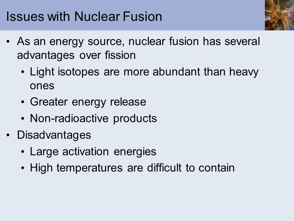 Issues with Nuclear Fusion