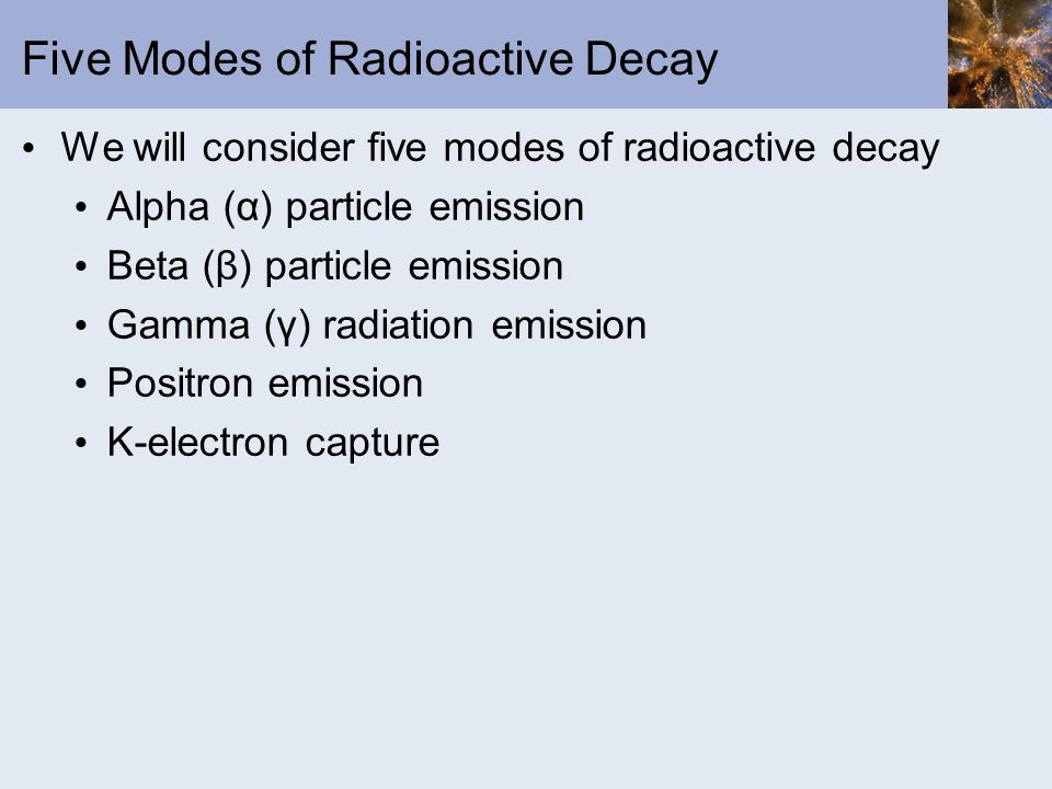 Five Modes of Radioactive Decay