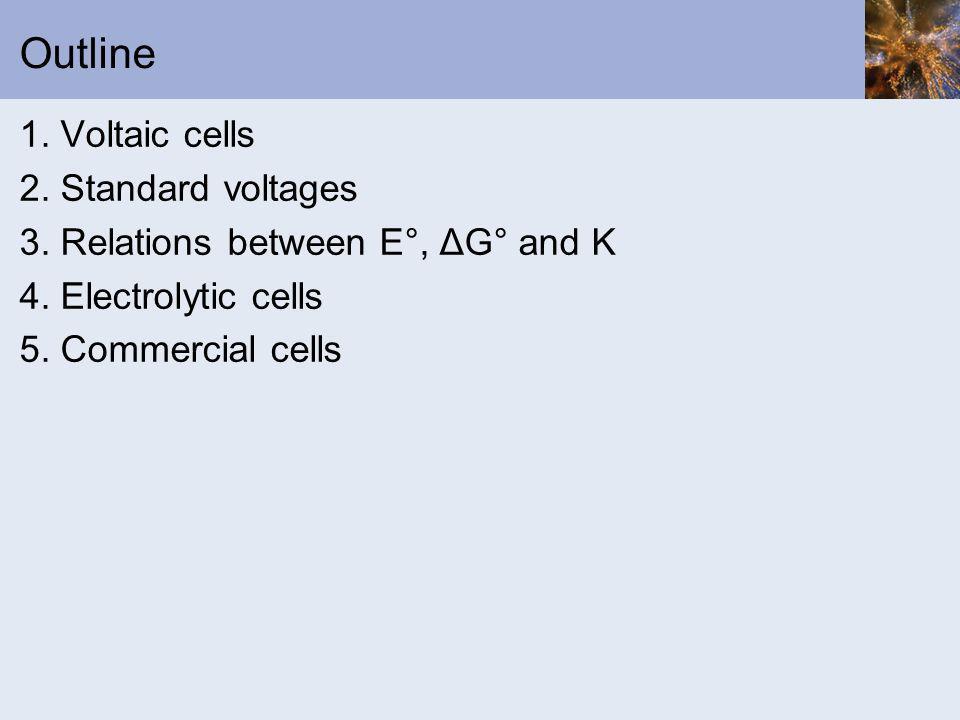 Outline 1. Voltaic cells 2. Standard voltages
