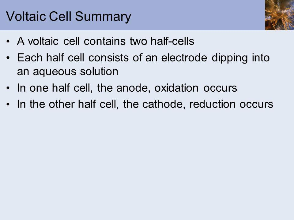 Voltaic Cell Summary A voltaic cell contains two half-cells