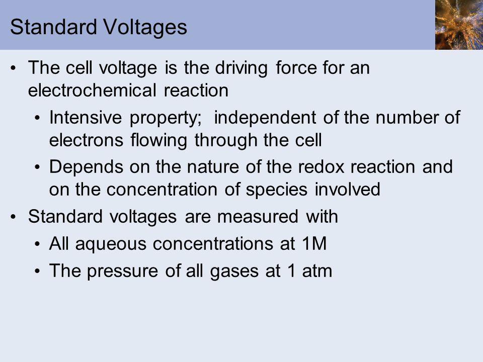 Standard Voltages The cell voltage is the driving force for an electrochemical reaction.