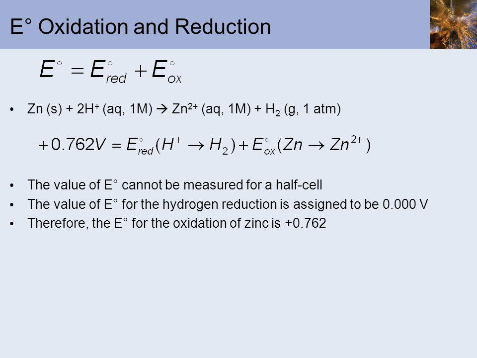 E° Oxidation and Reduction