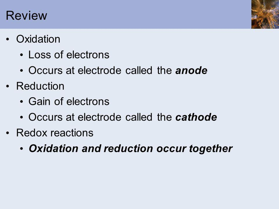 Review Oxidation Loss of electrons