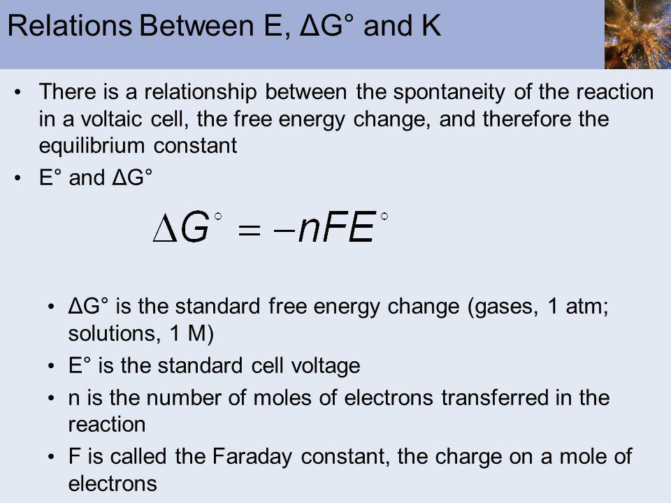 Relations Between E, ΔG° and K