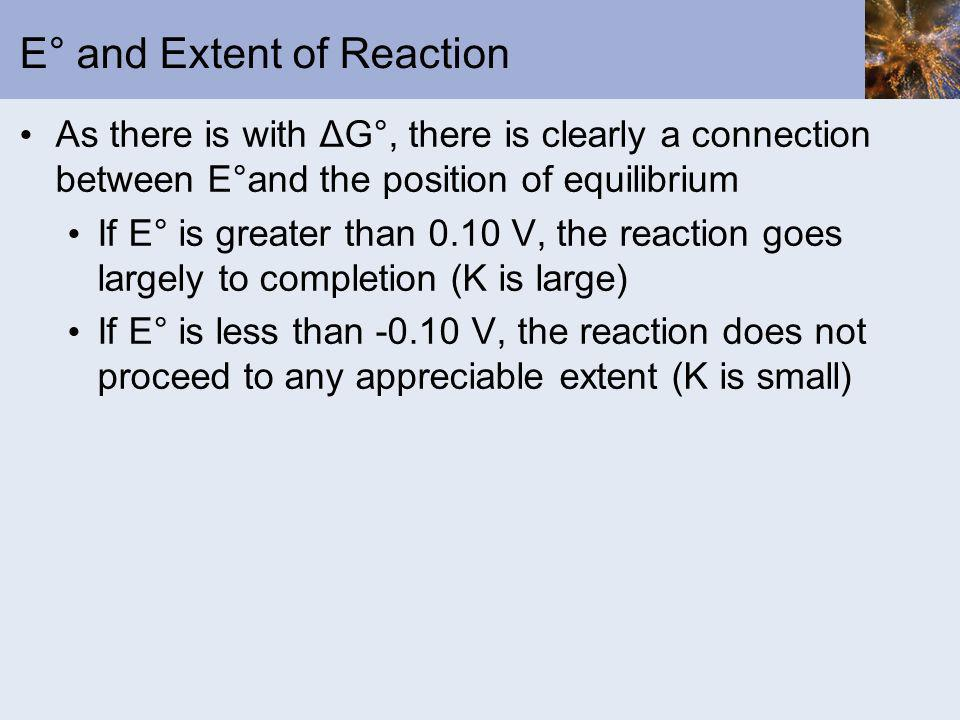 E° and Extent of Reaction