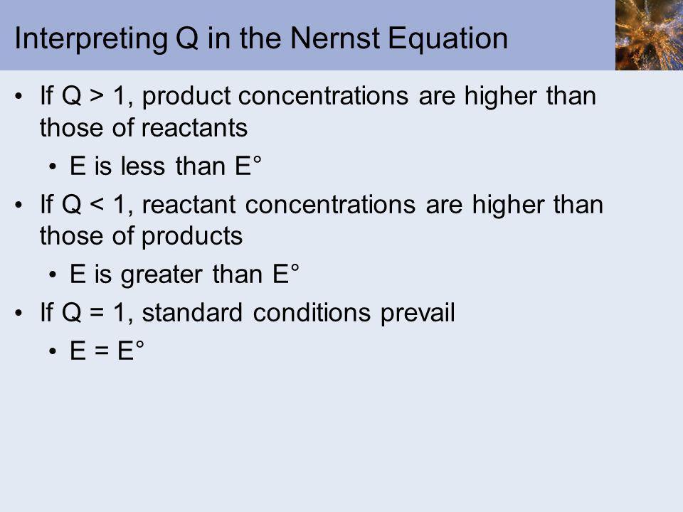 Interpreting Q in the Nernst Equation