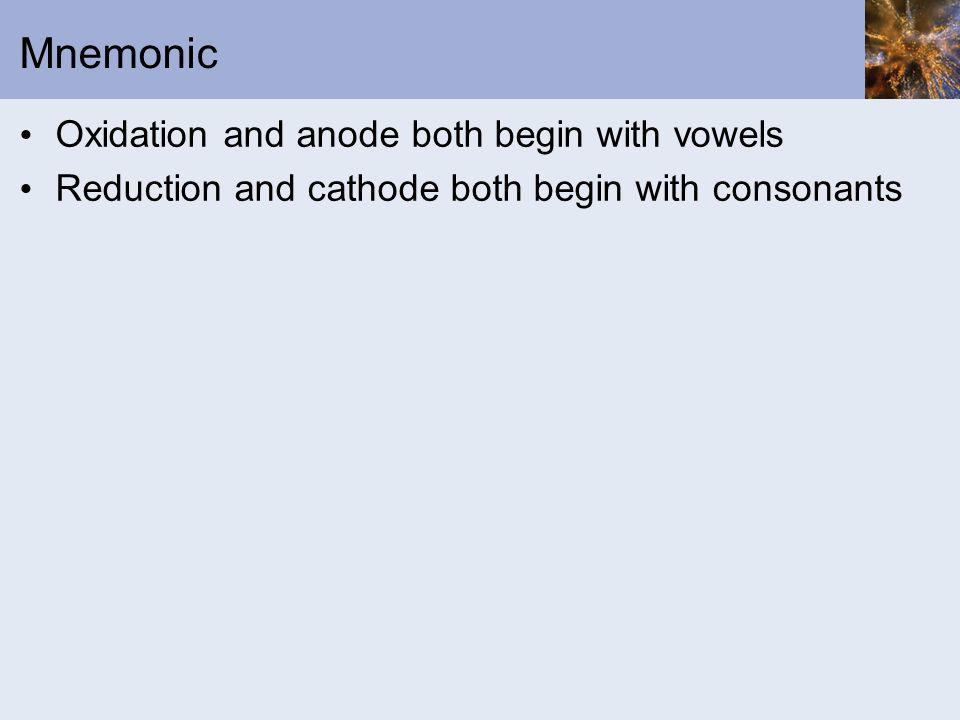 Mnemonic Oxidation and anode both begin with vowels